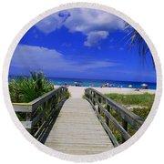 Venice Pier Venice Florida Round Beach Towel