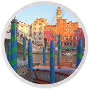Venice Rialto Bridge Round Beach Towel
