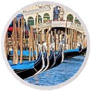 Venice Sunny Rialto Bridge Round Beach Towel