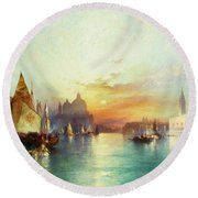 Venice Round Beach Towel by Thomas Moran