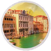 Venice Water Taxis Round Beach Towel