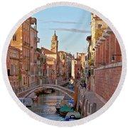 Venice Waterway Round Beach Towel