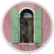 Venice Window In Pink And Green Round Beach Towel