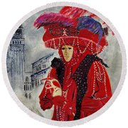 Venitian Mask 0130 Round Beach Towel