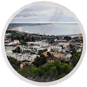 Ventura Coast Skyline Round Beach Towel