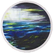 Ventura Seascape At Night Round Beach Towel