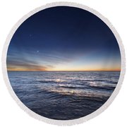 Venus And Jupiter In Conjunction Round Beach Towel