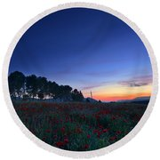 Venus And Moon Over Spring Poppies Round Beach Towel