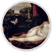 Venus And The Organist Round Beach Towel by Titian