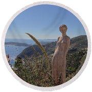 Venus In Eze's Garden Round Beach Towel