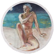 Venus Of The Moon Round Beach Towel