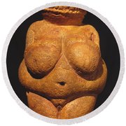 Venus Of Willendorf Round Beach Towel