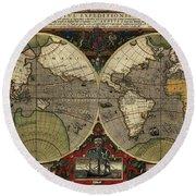 Vera Totius Expeditionis Nauticae Of 1595 Round Beach Towel