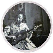 Vermeer Guitar Player Round Beach Towel