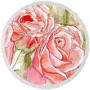 Vermilion Pink Roses Round Beach Towel