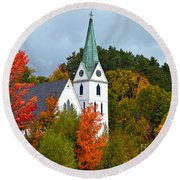 Vermont Church In Autumn Round Beach Towel by Catherine Sherman