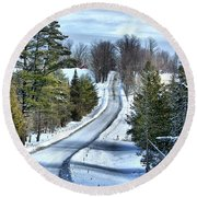 Vermont Country Landscape Round Beach Towel