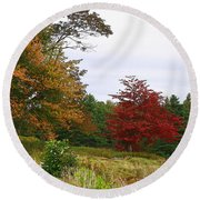 Vermont Roadside Color Round Beach Towel