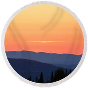 Vermont Sunset With Wind Turbines Round Beach Towel