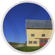 Vermont Yellow Barn 8x10 Ratio Round Beach Towel