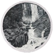Vernal Falls Black And White Round Beach Towel