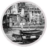 Vernazza Boats And Church Cinque Terre Italy Bw Round Beach Towel