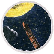 Verne: From Earth To Moon Round Beach Towel