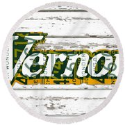 Vernors Beverage Company Recycled Michigan License Plate Art On Old White Barn Wood Round Beach Towel