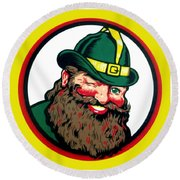 Vernors Ginger Ale - The Vernors Gnome Round Beach Towel