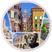 Verona Colorful Tourist Landmarks Postcard  Round Beach Towel