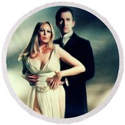 Veronica Carlson And Peter Cushing Round Beach Towel