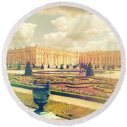 Versailles Gardens And Palace In Shabby Chic Style Round Beach Towel