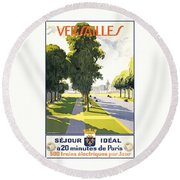 Versailles Travel Poster Round Beach Towel