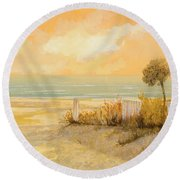Verso La Spiaggia Round Beach Towel by Guido Borelli