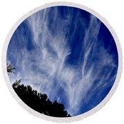 Vertical Clouds Round Beach Towel