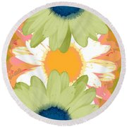 Vertical Daisy Collage II Round Beach Towel