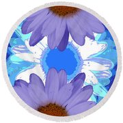Vertical Daisy Collage Round Beach Towel