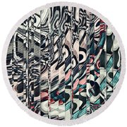 Vertical Graphic Layers Round Beach Towel