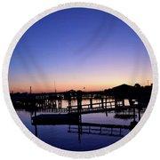 Vertical Pre-dawn Stillness At The Marina 13670 Round Beach Towel