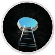 Vertical Step-ladder On Ceiling Window  Round Beach Towel