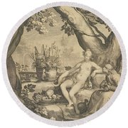 Vertumnus And Pomona Round Beach Towel