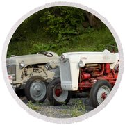Very Old Ford Tractors Round Beach Towel