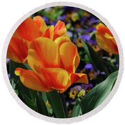 Very Pretty Colorful Yellow And Red Striped Tulip Round Beach Towel