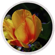 Very Pretty Yellow And Red Tulip Flower Blossom Round Beach Towel