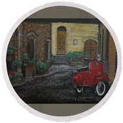Vespa In The Rain Round Beach Towel by Richard Le Page