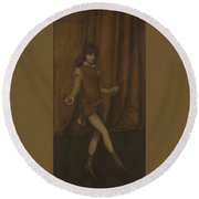 vHarmony in Yellow and Gold  The Gold Girl   Connie Gilchrist  James McNeill Whistler Round Beach Towel