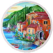 Via Positano By The Lake Round Beach Towel