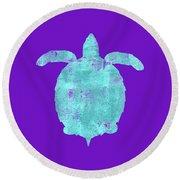 Vibrant Blue Sea Turtle Beach House Coastal Art Round Beach Towel
