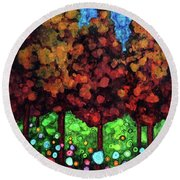 Vibrant Forest Round Beach Towel