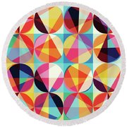 Vibrant Geometric Abstract Triangles Circles Squares Round Beach Towel